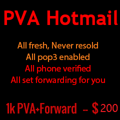 1000 PVA hotmail with forwarding